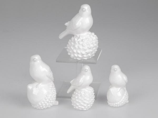 Formano Vogel 2er Set Porzellan weiß