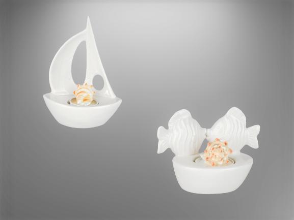 Formano Teelichtleuchte Fische oder Boot weiß