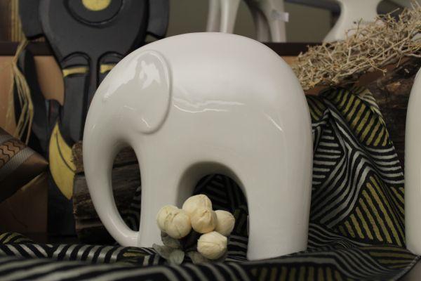 Casablanca Elefant Fridolin weiß glänzend H.20cm