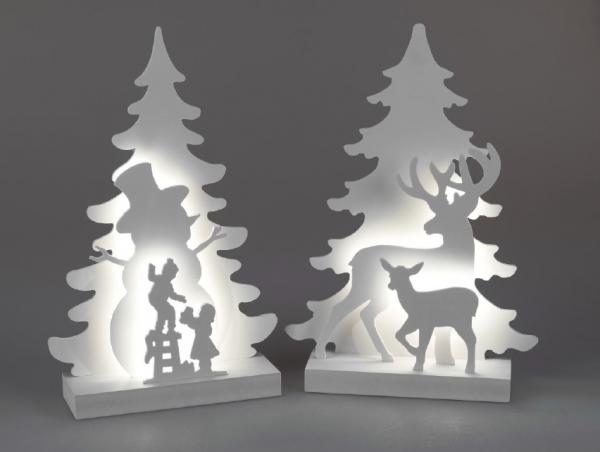 Formano Tanne & Hirsch oder Tanne & Kinder weiß mit LED