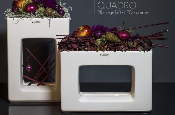 Pflanzgefäß Quadro LED flach creme mit Timer von Tiziano