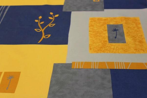 Dekostoff blau/gelb/orange Meterware 155 cm breit SONDERPREIS!