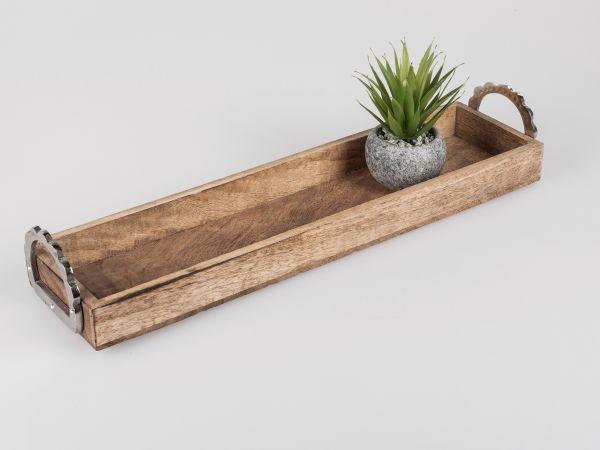 Formano Tablett eckig Alu Mango-Holz