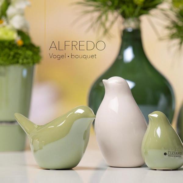 Tiziano Vogel Alfredo 7,5 cm bouquet / hellgrün