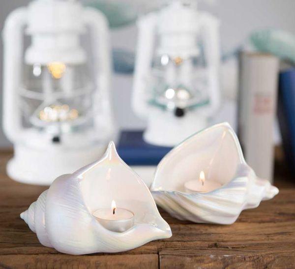 Casablanca Muschel Teelichtleuchter Pearl Keramik weiß matt/glasiert 156235-10