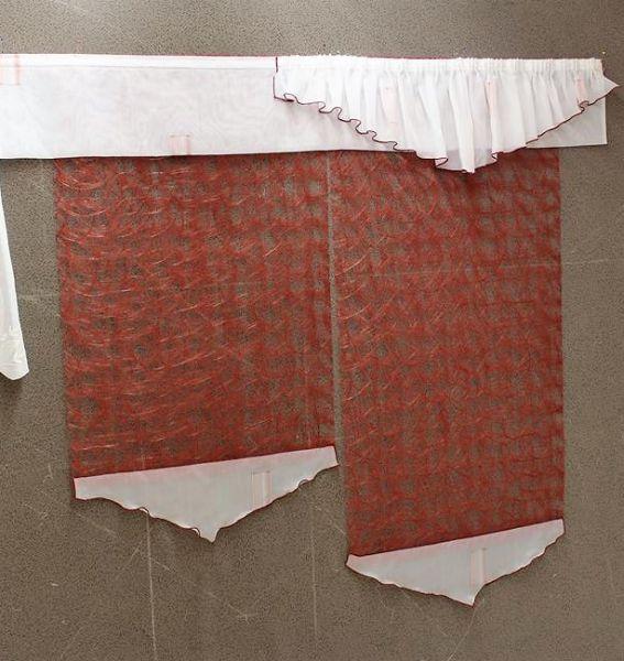 Gardine Fertigdeko rot/weiß HxB 105/130x120 cm