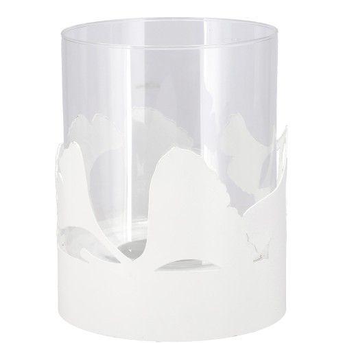 Vosteen Windlicht Gingko mit Glas weiß oder grau