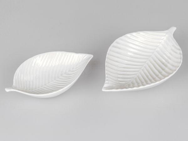 Formano Schale Blatt Porzellan weiß