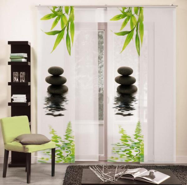 Basix Schiebevorhang BLACK STONES grün-schwarz (BxH) 60x245 cm